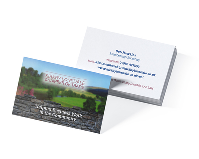 Business card design for Kirkby Lonsdale Chamber of Trade